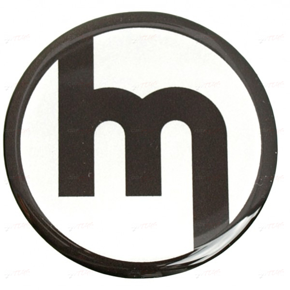 WHEEL CAP STICKERS 50MM M BLK on SILVER FITS MAZDA